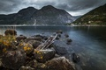 Картинка mountains, clouds, village, stones, Norway, bush, Fjord