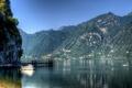 Картинка лес, горы, озеро, яхта