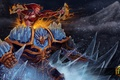 Картинка лед, девушка, огонь, воин, рыжая, броня, Solstice