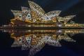 Картинка небо, огни, отражение, Австралия, театр, Сидней
