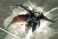 Картинка девушка, взрыв, меч, белые волосы