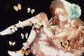 Картинка девушка, бабочки, цветы, розы, аниме, арт, moekon