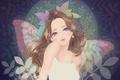 Картинка листья, Девушка, крылья, фея