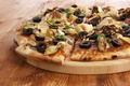 Картинка dough, pizza, cheese, wooden plate, portion