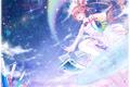 Картинка небо, девушка, звезды, рыбки, птицы, радуга, аниме