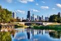 Картинка деревья, мост, река, небоскреб, дома, Chicago, сша