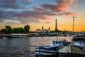 Картинка небо, облака, мост, река, Франция, Париж, башня