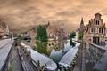 Картинка Брюгге, Бельгия, небо, дома, облака, канал, улица