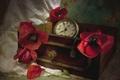 Картинка часы, маки, текстура, винтаж
