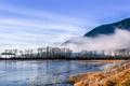 Картинка деревья, туман, река, сопка