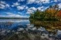 Картинка озеро, деревья, облака, небо, лес, осень
