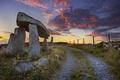 Картинка дорога, закат, камни, забор
