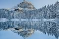 Картинка зима, снег, деревья, горы, озеро, отражение, зеркало
