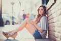 Картинка Girl, Beautiful, Model, Maria, T-shirt, Sitting, Shorts