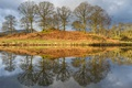Картинка небо, облака, деревья, озеро, отражение, холмы