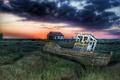 Картинка поле, ночь, корабль