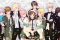 Картинка девушка, цветы, улыбка, игрушка, букет, аниме, медведь