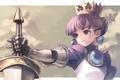 Картинка девушка, рисунок, меч, корона, gradriel, kawata hisashi, princess crown