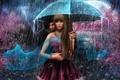 Картинка девушка, дождь, романтика, молния, зонт, парень