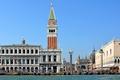 Картинка небо, Венеция, канал, лодки, гондола, собор Святого Марка, колонна Святого Теодора