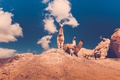 Картинка небо, облака, шерсть, смотрит, ламы
