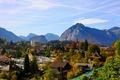 Картинка пейзаж, горы, город, фото, дома, Швейцария, Spiez