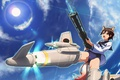 Картинка девушка, полет, оружие, Anime, ушки, хвостик, Strike Witches