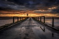 Картинка дорога, закат, мост