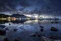 Картинка ночь, озеро, яхты
