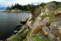 Картинка трава, деревья, камни, побережье, Канада, катер, залив