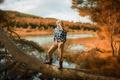 Картинка осень, девушка, река