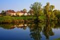 Картинка деревья, город, река, фото, дома, Германия, Ulm