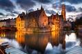Картинка мост, огни, дома, вечер, канал, Бельгия, Брюгге