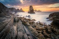 Картинка закат, пейзаж, скалы, океан