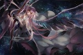 Картинка небо, девушка, звезды, облака, оружие, крылья, аниме
