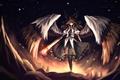 Картинка девушка, магия, крылья, аниме, арт, reiuji utsuho, touhou