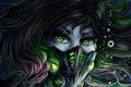 Картинка девушка, пузыри, волосы, маска, под водой