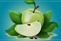 Картинка лист, яблоко, арт, фрукт