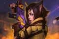 Картинка девушка, пистолет, оружие, арт, лазер, уши, прицел