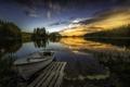 Картинка озеро, лодка, деревья, берег, лес, закат