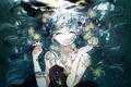 Картинка девушка, цветы, аниме, арт, vocaloid, hatsune miku, под водой