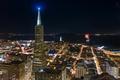 Картинка ночь, огни, высота, небоскребы, Калифорния, USA, мегаполис