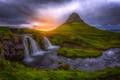 Картинка mountain, waterfall, Iceland, Kirkjufjell