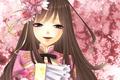 Картинка цветы, улыбка, розовый, Девочка