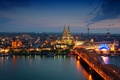 Картинка ночь, мост, огни, башня, вокзал, Германия, собор
