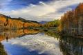 Картинка осень, облака, деревья, пейзаж, природа, время года