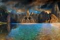 Картинка небо, горы, природа, река, фото