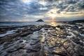 Картинка море, небо, солнце, облака, закат, скалы, остров
