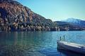 Картинка небо, горы, озеро, лодка, тень, солнечный