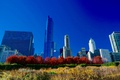 Картинка осень, небо, деревья, дома, Чикаго, США